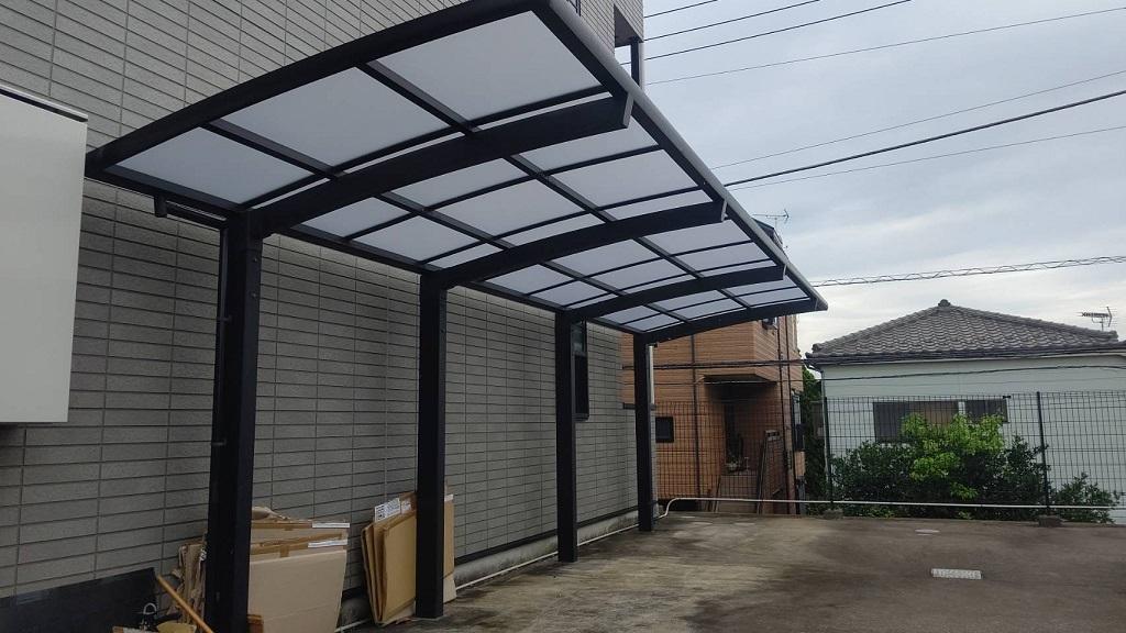 サイクルポート屋根のポリカーボネート交換工事|横浜市神奈川区のAマンションにてエクステリア工事施工後